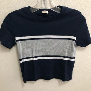 Brandy Melville navy w gray/white striped crop top
